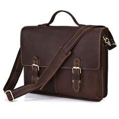7090R Vintage Crazy Horse Leather Men's Dark Brown Briefcase Messenger Laptop Bag