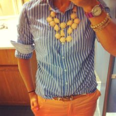 Tangerine and Chambrey stripes with statement necklace....