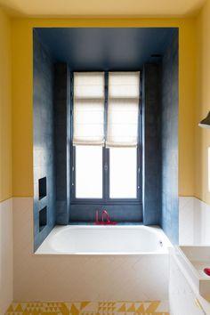 dark tile in the shower