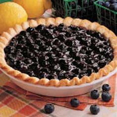 I've been making this blueberry pie recipe for decades since the ingredients for the filling are readily available in Michigan. Nothing says summer like a piece of fresh blueberry pie! Fresh Blueberry Pie, Blueberry Pie Recipes, Blueberry Torte, Blueberry Turnovers, Köstliche Desserts, Delicious Desserts, Dessert Recipes, Sweet Pie, Pie Dessert