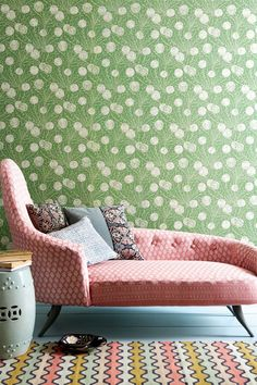 Floral wallpaper, pastel prints and chaise longue