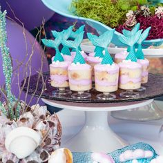 Loving the party food at this Mermaid Birthday Party! See more party ideas and s. Mermaid Party Favors, Mermaid Cupcakes, Mermaid Party Decorations, Birthday Party Decorations, Birthday Parties, Little Mermaid Birthday, Little Mermaid Parties, Lua Party Ideas, Under The Sea Party