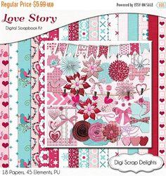 50% OFF TODAY Valentine Digital Scrapbooking Kit  in Pink & Blue, Instant Download