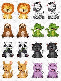 Animaux mignons Clipart lion renard autocollant damis de image 2 Safari Animals, Baby Animals, Cute Animals, Scrapbooking Invitation, Cute Animal Clipart, Party Cartoon, Clip Art, Most Beautiful Animals, Kids Room Art