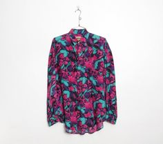 90s Silk Shirt / Long Sleeved Pink & Purple Abstract Floral | Etsy Vintage Shirts, Vintage Men, Purple And Black, Pink Purple, Festival Dress, Wrap Sweater, Blue Denim, Long Sleeve Shirts, Menswear