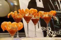 cupcakes in martini glasses | ... perfect way to serve shrimp at a James Bond party, in martini glasses
