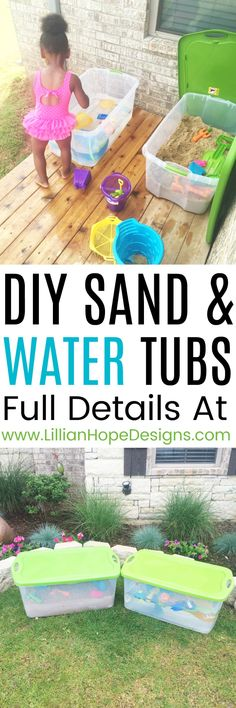 DIY Water Table and DIY Sand Table. An incredibly easy and affordable solution to building a sand and water table. These tubs are genius!!