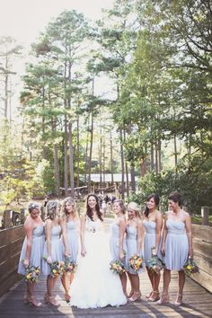 grey polka dot bridesmaid dresses