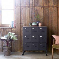 Metal chest of drawers - Industrial style chest of 9 drawers sale - Tikamoon Metal Chest, Wood Chest, Metal Industrial, Industrial Style, Industrial Drawers, Wood Cabinets, Storage Cabinets, Hallway Storage, Locker Storage