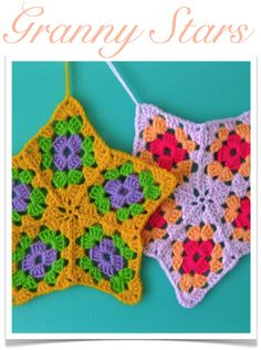 I wonder it these are just 5 granny squares sewn together instead of I don't think I'll buy the pattern to find out. Grannies Crochet, Crochet Stars, Love Crochet, Crochet Motif, Crochet Flowers, Crochet Stitches, Knit Crochet, Loom Knit, Crochet Cushions