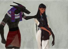 """""""You can't"""" by Mary Yanko (Nayshie) on DeviantArt. Nephthys leaving her husband Set and taking their son Anubis with her. Egyptian mythology."""