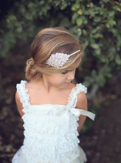 Flower girl headband baby headband gatsby by PrettyPreciousKids Wedding Headband, Gatsby Headband, Bridesmaid Flowers, Bridesmaid Hair, Wedding Bridesmaids, Flower Girl Headbands, Baby Headbands, Flower Girl Dresses, Flower Girl Headpiece