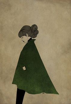Green jacket woman illustration