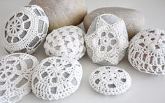 """3""""-4"""" Crochet Lace Stone / Häkelstein - Special Custom Listing - Please Convo first"""