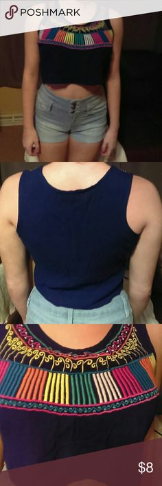 Fun & Flirt crop top Royal blue with colorful detail, excellent condition. Tops Crop Tops
