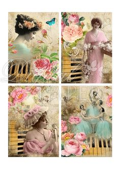 MELODY  digital collage sheet  set of 4 cards  by bydigitalpaper, $4.55