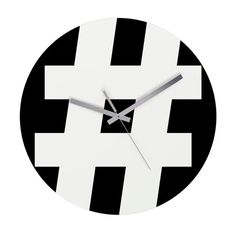 Black and White Hashtag Art Wall Clock