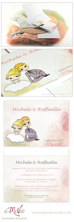 Comic-style wedding invitation! Personalize it with your own avatars! by e-MoVeo Cards Invito matrimonio Hochzeitseinladung Comic-Stil www.emoveo-cards.com