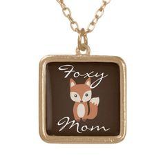 Foxy Mom Necklace, Goldtone/Brown