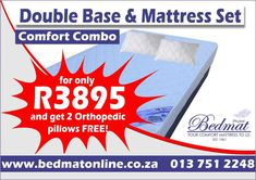 Get double the value with our Comfy Combo Special. Double Base and Mattress set, priced at R3895.00 and you get 2 Orthopedic pillows FREE!  These bed sets come with a 10-year warranty and have a weight limit of 100kg per person. Dimensions: 1370 x 1880 x 230mm -Recommended for young adults, senior citizens, and holiday homes -3 Layered high-density foam -Covered in elegant white circular knit fabric for durability and comfort  Visit our online shop #bedmat #combo #deal