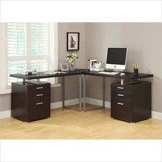 Cappuccino 3pc Hollow-Core L-Shaped Desk Set (2 Desks + 1 Corner Wedge) - Monarch Specialty I-7026-3