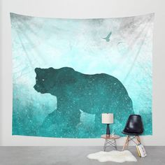 Bear tapestry, space tapestry, hippie tapestry, boho tapestry, galaxy tapestry  By The Mind Blossom