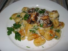 Gnocchi in a Gorgonzola Sauce Topped with Fried Mushrooms