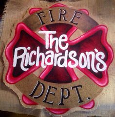Fire Fighter Cross Shield Hand Painted Burlap by BHoweryCreations