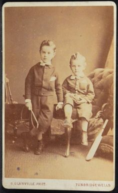 CDV Photo 2 Boys Cricket Ball Bat Glanville Tunbridge Wells Kent England UK