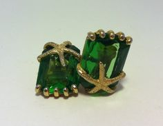 Vintage Emerald Cut Starfish Clip On Earrings by Sfuso on Etsy, $30.00