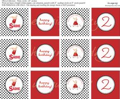 Printable Olivia Themed Birthday - Cupcake Toppers - Favor Tags - Party circles. $6.00, via Etsy.