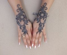 Wedding Glove grey lace gloves Fingerless Glove by WEDDINGGloves, $28.00
