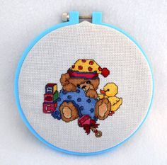 Framed Beary shy teddy bear cross stitch, finished cross stitch piece, perfect for a baby gift or nursery
