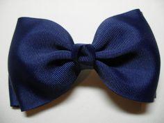Simple Style School Uniform Hair Bow NAVY Blue by HareBizBows, $5.99