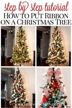 Christmas Tree Decorations Ribbon, Diy Christmas Tree Topper, Diy Tree Topper, Christmas Tree Themes, Christmas Trees With Burlap, Decorate Christmas Tree Like A Pro, Christmas Mantles, Christmas Villages, Christmas Tree Mesh Ribbon