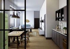 lime SMEG fridge (via Oscar Properties - Home)