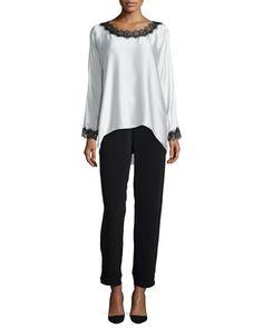 Long-Sleeve Silk Tunic W/ Lace Trim & Full-Leg Silk Pants, Women\'s  by Go Silk at Neiman Marcus.