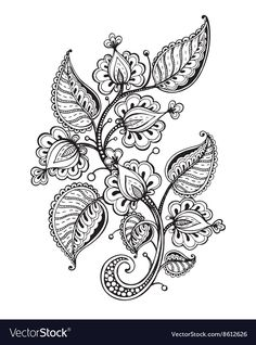 Modern Romance Coloring Book Best Of Vector Illustration Hand Drawn Fancy Flower Branch and Leaves Stock Vector Image Mandala Drawing, Mandala Tattoo, Awareness Tattoo, Henna Drawings, Free To Use Images, Leaves Vector, Modern Romance, Flower Doodles, Motif Floral