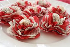 easy, DIY paper flowers. fill a bowl with them or pop one in the center of each dinner plate.