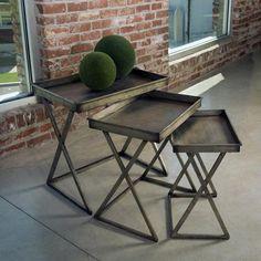 Vintge Silver Leaf Tray Tables - Set of 3