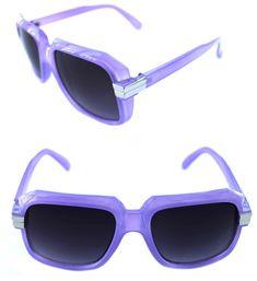 244c055535c Details about Men s Hip Hop 80 s Vintage 607 Sunglasses Retro RUN DMC  Purple Silver Frame