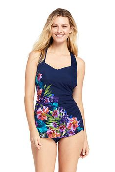 e142b13ada Try our Women's Slender Tunic One Piece Swimsuit with Tummy Control Print  at Lands' End.