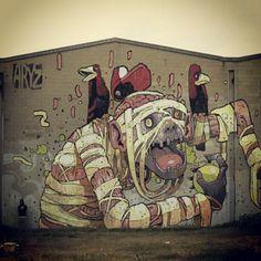 Aryz in mataro catalunya (2011) #streetart #art #graffiti #painting #spraypaint via @streetart101 #instagram