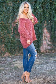 Sunday Brunch Chenille Shift Sweater in Rustic Rose- $49