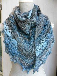 "crochet shawl ~~ uses fingering yarn ~~  click on ""Elise Shawl"" sends to free Ravelry pattern"