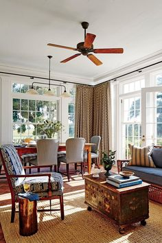Phoebe Howard Designed Texas Hill House Family/Dining Room Mexican Army,  Living Area,