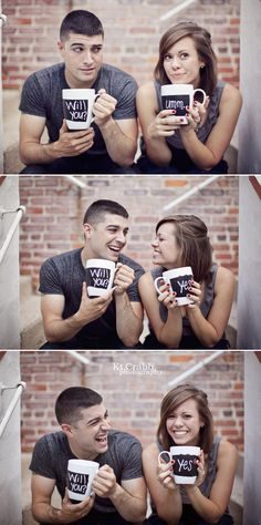 Cute ... BUT you could have the cups say Save The  Date .. Month .. Day Year