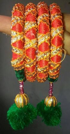 Hand made gota jewellery bangles Silk Thread Bangles, Thread Jewellery, I Love Jewelry, Jewelry Design, Gota Patti Jewellery, Thread Bangles Design, Craft Bags, Indian Jewelry, Making Ideas