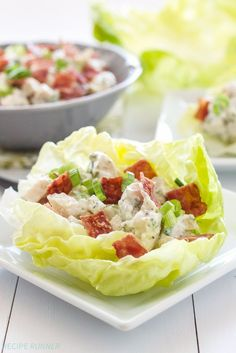 Chicken, Bacon, Ranch Lettuce Cups |Lightened up chicken salad flavored with crisp bacon and a healthy ranch dressing!