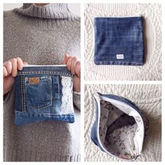 SUMMER SALE DENIM clutch bag with cotton lining // recycled